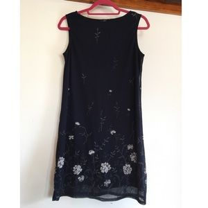 Vintage Navy Blue Shift Dress White Rose Pattern